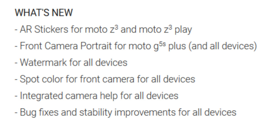Changelist for the Moto Camera app update - Update to Moto Camera app adds new features for all Moto devices