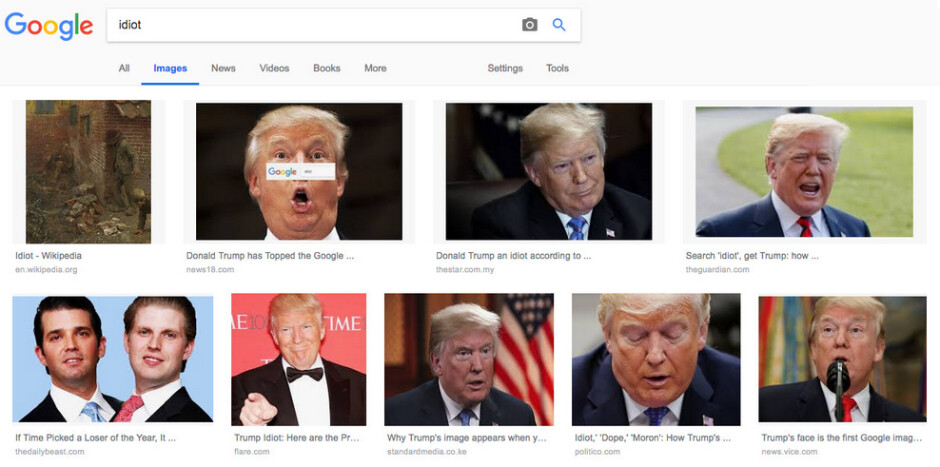 """Making an image search for idiot came back with these results earlier today - Google CEO Pichai speaks to Congress, explains why Trump appears when you image search """"idiot"""""""