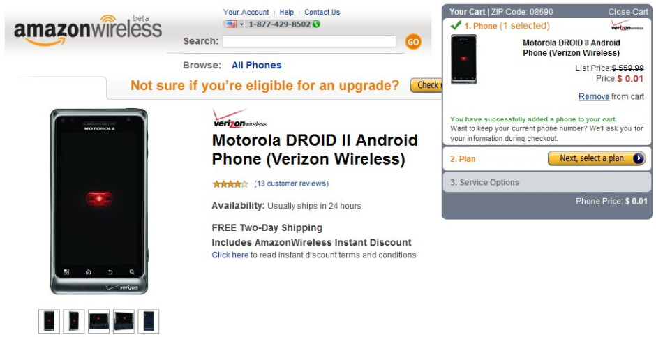 Now a penny will literally enable you to buy a Motorola DROID 2 through Amazon