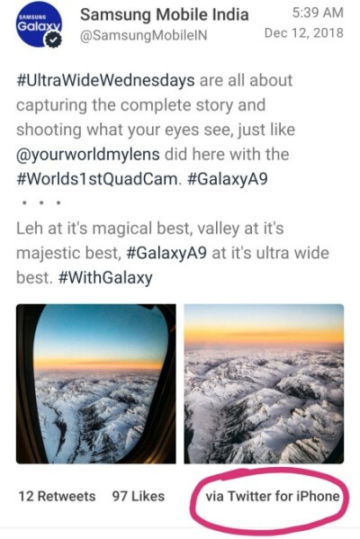 Samsung messes up again, tweeting about the Galaxy A9 from an iPhone