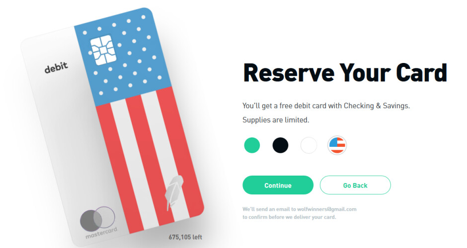 Early access depositors can choose from four different designs for their debit card - Robinhood adds free no-fee checking and banking to its trading app