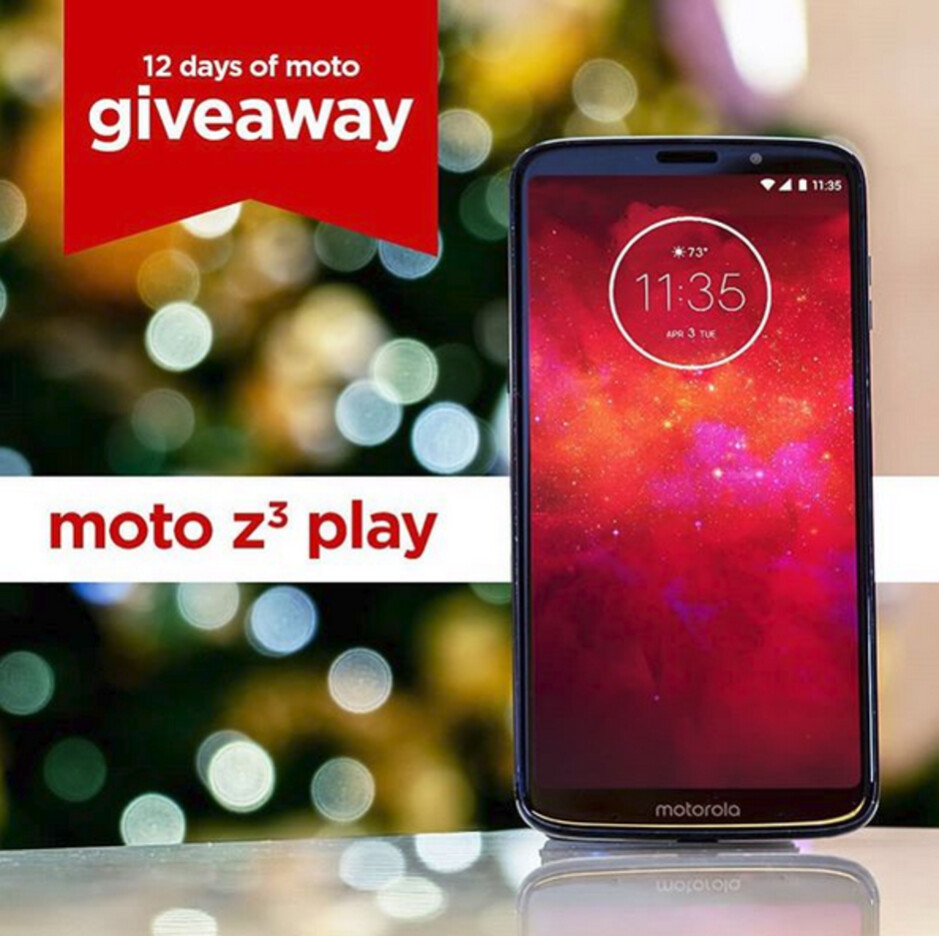 Win the Moto Z3 Play by entering today's sweepstakes with Motorola U.S. - Win a free Moto product in the 12 Days of Moto Giveaway; today's prize is the Moto Z3 Play