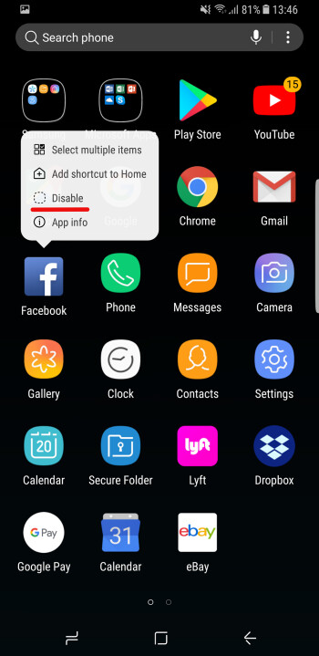 Pre-installed apps can only be disabled