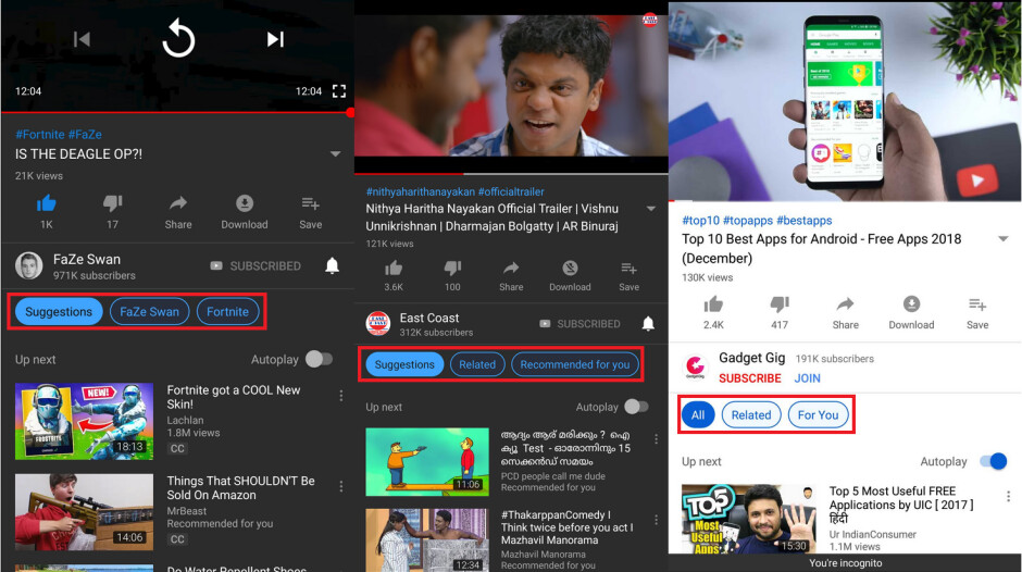 YouTube tests a way for users to have control over the Up next column - YouTube test gives users more control over the videos that will be autoplayed next