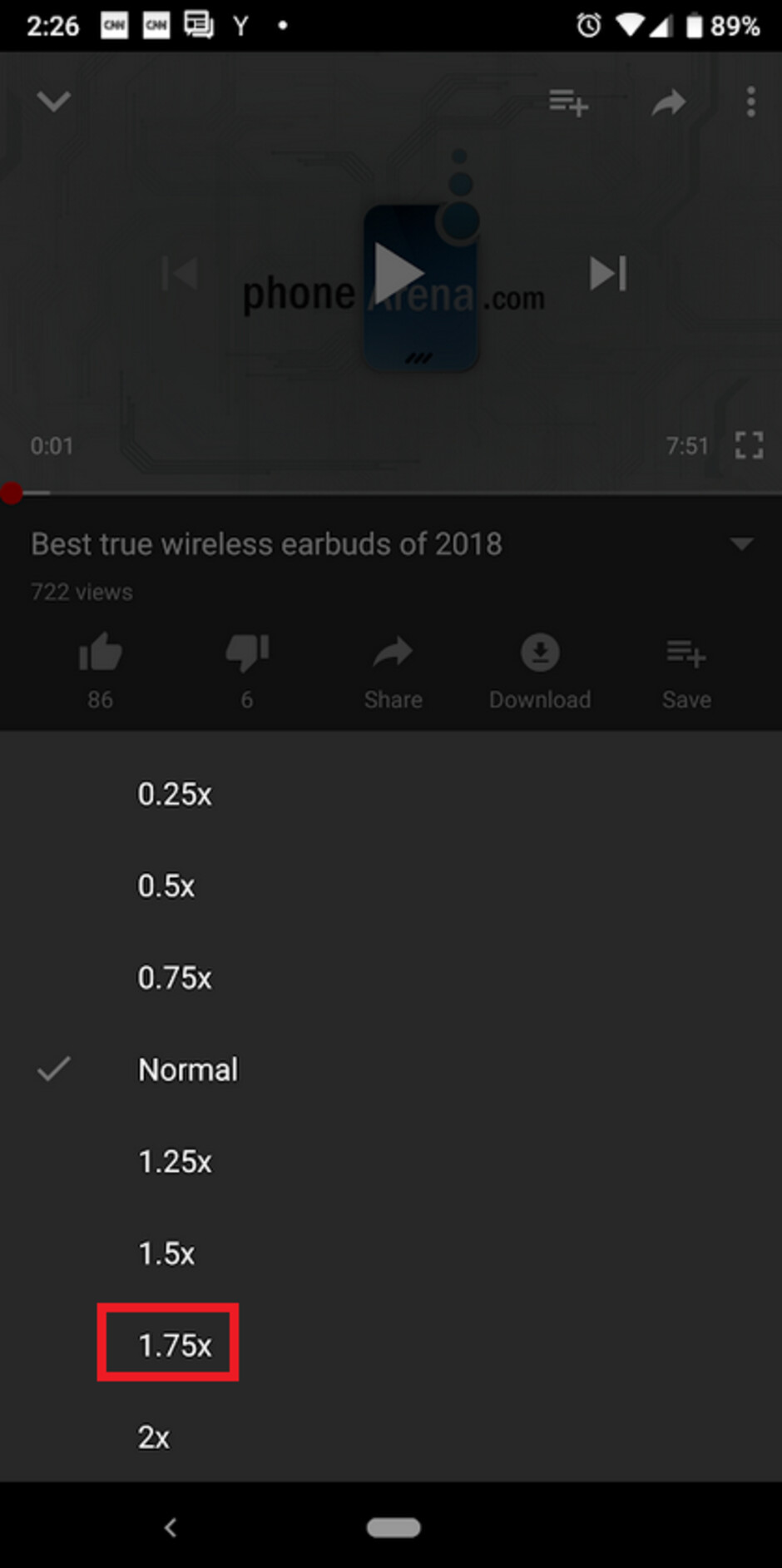 YouTube's Android app now offers playback speed at 1.75x normal - Google adds 1.75X playback speed option to the Android version of the YouTube app