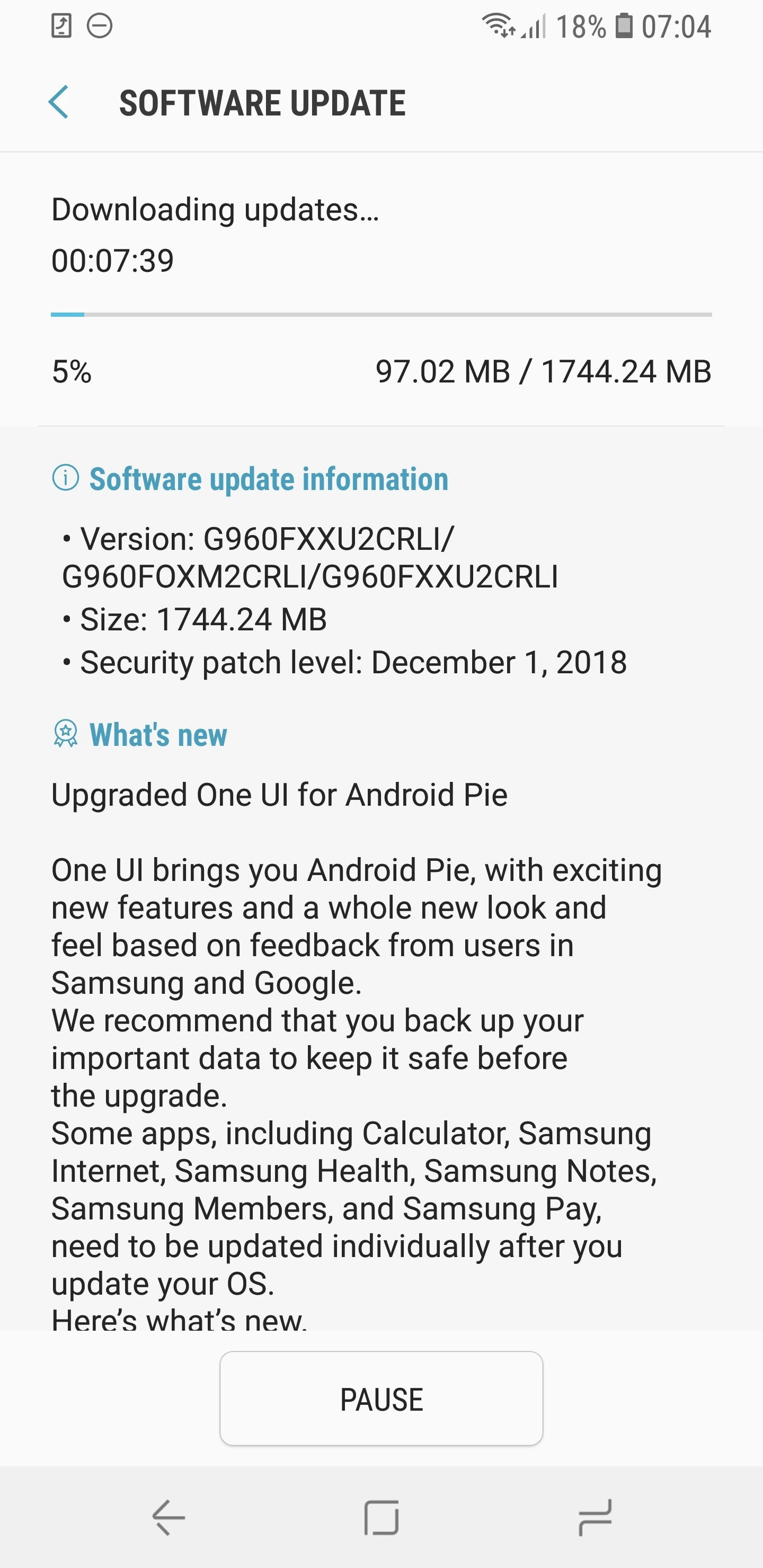 Samsung starts rolling out Android 9 Pie for Galaxy S9/S9+