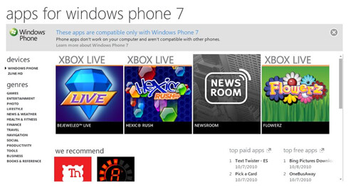 How many apps for Windows Phone 7 at launch?