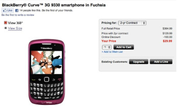 Pretty in fuchsia is the BlackBerry 9330