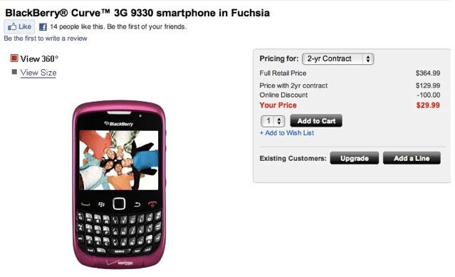 Pretty in fuchsia is the BlackBerry 9330 - BlackBerry Curve 3G now in fuchsia at Verizon