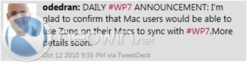 Microsoft will add WP7/Zune compatibility for Mac