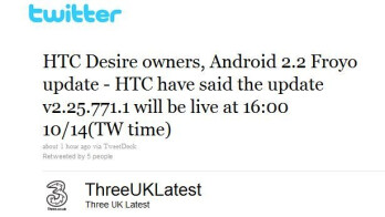Three UK is now pushing out the Android 2.2 Froyo update for the HTC Desire