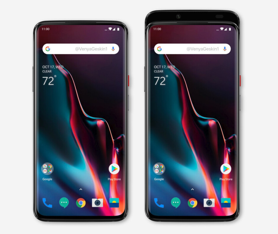 OnePlus 7 renders - Notchless, bezelless OnePlus 7 with sliding mechanism visualized in hot new renders