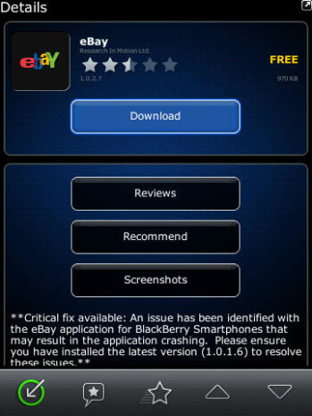 eBay app for BlackBerry has been updated to include support for the Torch