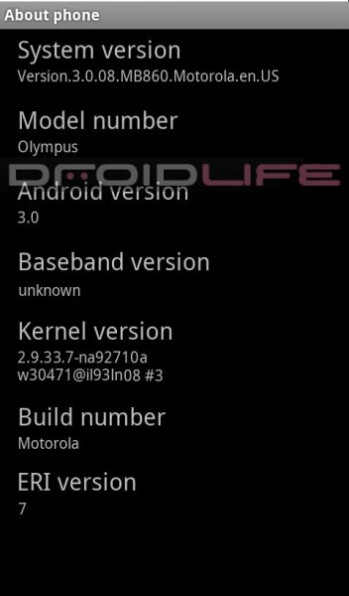 """Motorola Olympus """"about screen"""" revealed, or is it all just a fake?"""