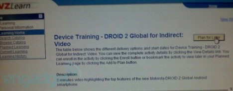 Motorola DROID 2 Global shows up in Verizon reps' training system