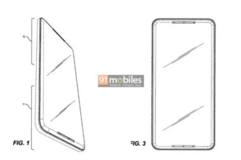 Google Pixel phone with bezel-less display and stereo speakers. Image from patent