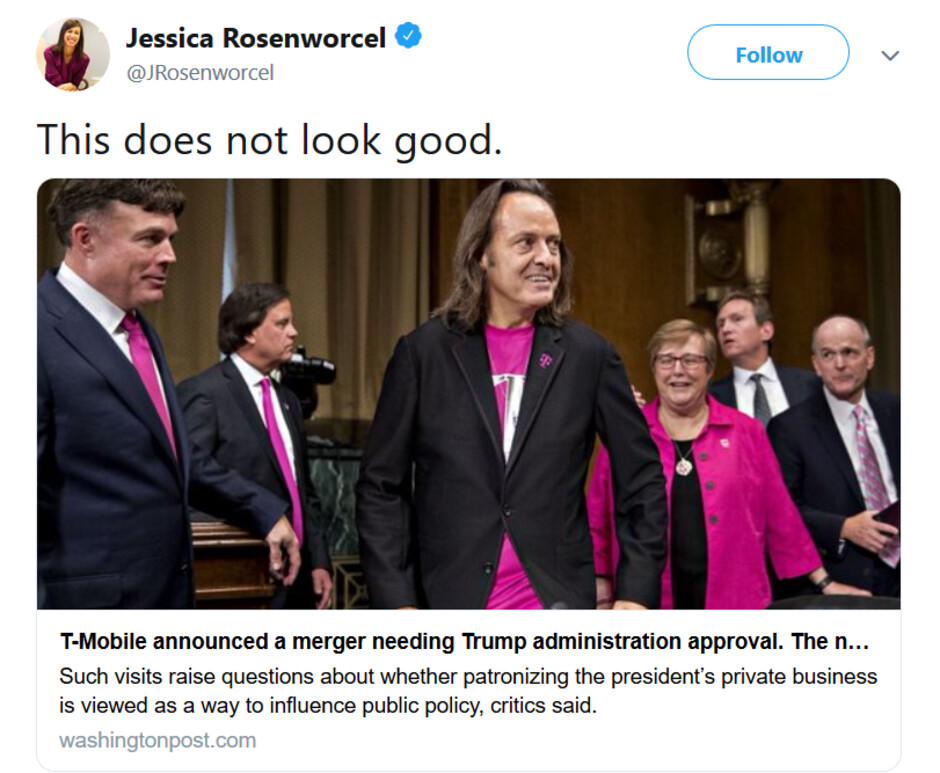 FCC commissioner takes shot at T-Mobile for staying at Trump's Washington D.C. hotel - FCC commissioner's tweet rebukes T-Mobile for its Trump International Hotel stays