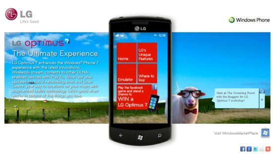 LG's interactive site for its Optimus 7 provides a brief tour of the WP7 handset