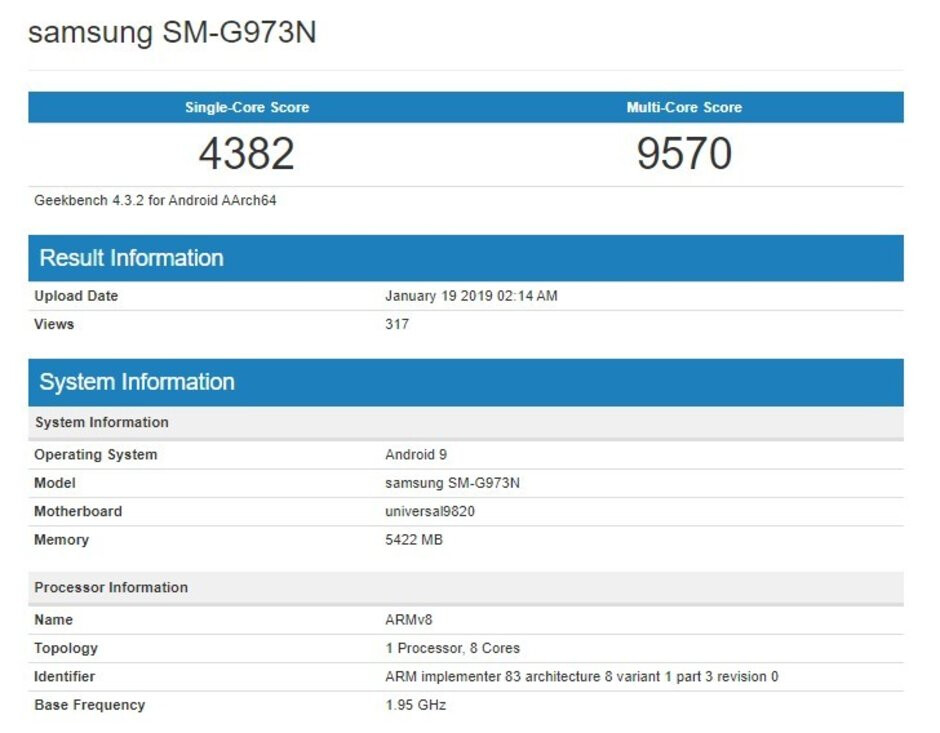 Regular Galaxy S10 gets benchmarked, not as powerful as the iPhone XS