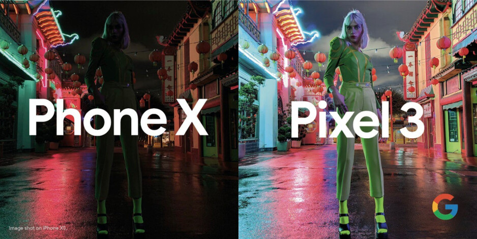 Google compares a photo from the iPhone XS to the same scene shot using Night Sight on the Pixel 3 - Google's new ad pushes camera feature the Pixel has and the iPhone doesn't