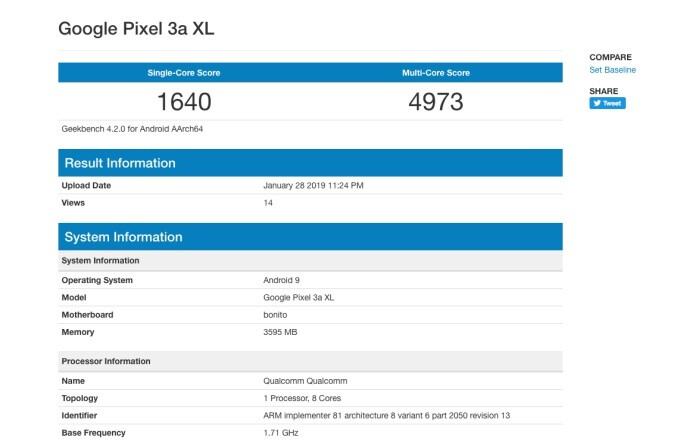 Newly revealed benchmark - Google Pixel 3 Lite XL could carry a different name, pack 4GB RAM after all