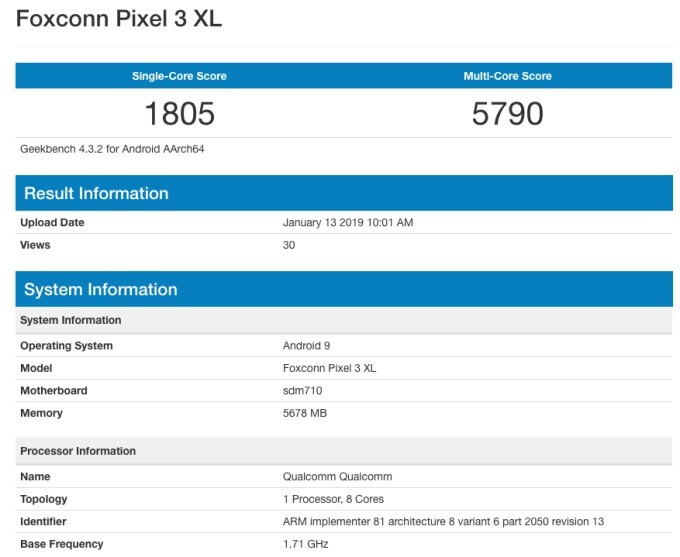 Older, sketchier benchmark - Google Pixel 3 Lite XL could carry a different name, pack 4GB RAM after all