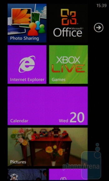 Home screen with Live Tiles