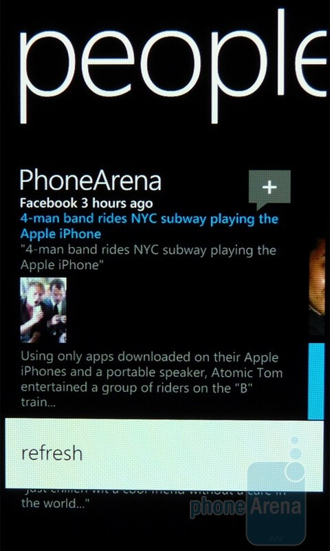 A swipe to the left will take you to your Facebook news - Windows Phone 7 Walkthrough