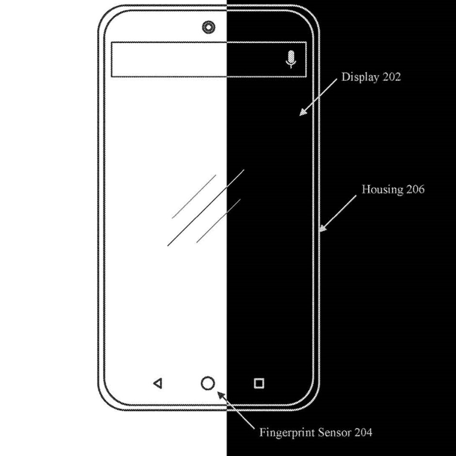 One image from an Essential patent application shows a punch-hole camera and in-display fingerprint scanner - Essential Phone sequel could use a unique technology to replace the notch