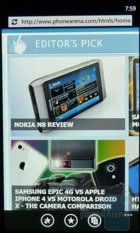 Internet Explorer loads pages very quickly, while scrolling and zooming are buttery smooth - Windows Phone 7 Walkthrough