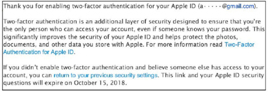 Image of email from law suit; plaintiff claims that the wording doesn't make it clear that after 14 days, 2FA cannot be disabled - Class action suit against Apple claims that this security feature was forced on customers