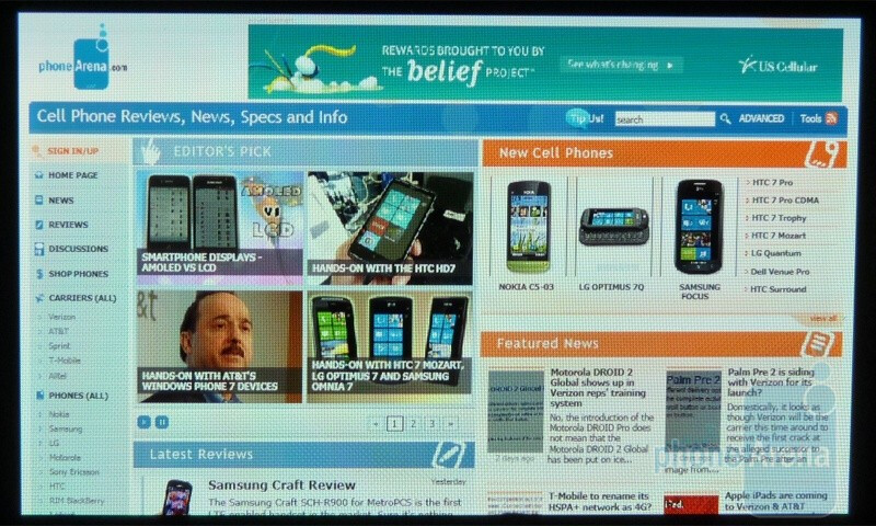 You can view web pages in full-screen only when in landscape mode - Windows Phone 7 Walkthrough