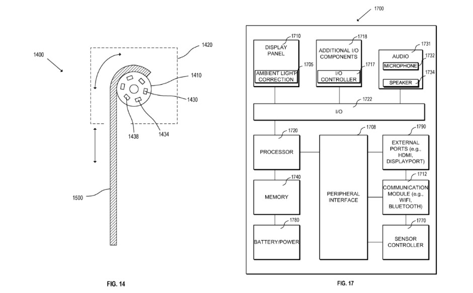 The spool for the display on the left, the system diagram for a device that has one on the right - Apple patented rollable display tech that can be used for anything from watches to TVs