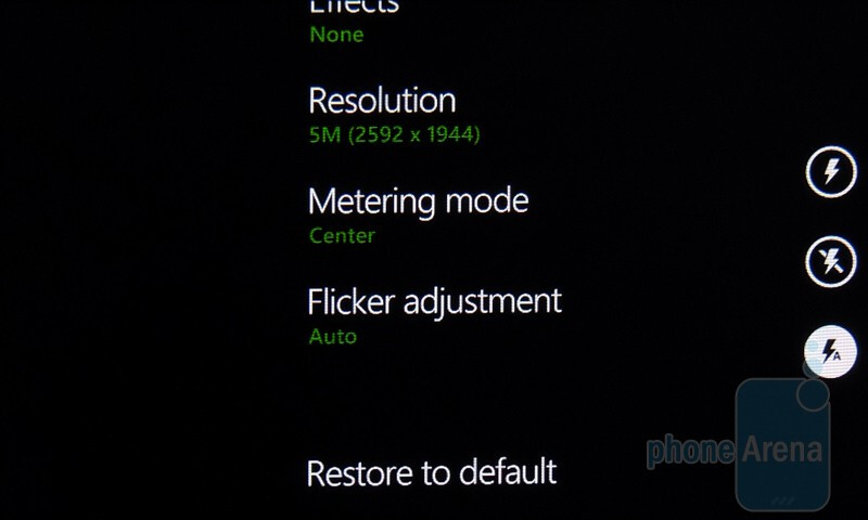 The stock Windows Phone 7 camera interface is well-balanced - Windows Phone 7 Walkthrough
