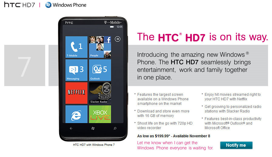 Htc Hd7 Is Coming To T Mobile On November 8 For 199 99 Contract