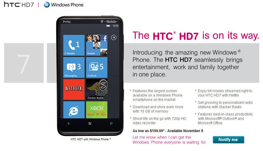 htc hd7 brings windows phone 7 to t mobile on november 8 rh phonearena com HTC Arrive HTC HD7 Case