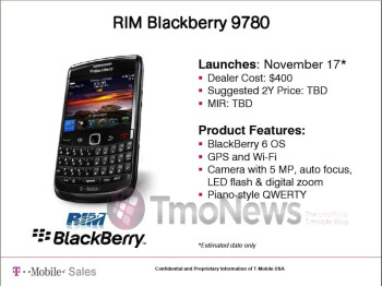 November 17th is the estimated launch date for the BlackBerry Bold 9780 on T-Mobile