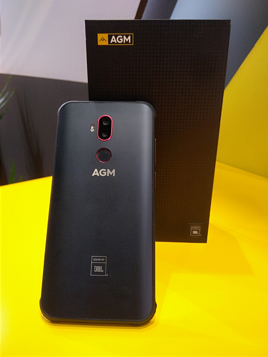 AGM X3 at the MWC booth - AGM is at MWC: super-durable phones coming to Europe, partnered with JBL for superior audio