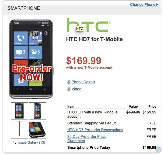 Wirefly's HTC HD7 pre-order offer - Wirefly opens up pre-orders for the HTC HD7 & priced at $169.99 with a contract