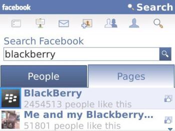 Facebook version 1.9 for BlackBerry