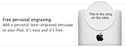 Engravings are now being offered with the iPad - Personalized engravings are now offered with the iPad