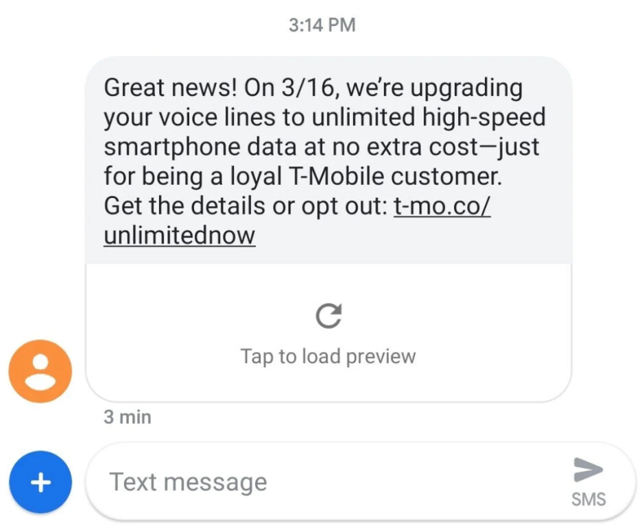 T-Mobile is giving some of its loyal subscribers a free upgrade to unlimited - Text from T-Mobile will give some of its long-time subscribers their first taste of unlimited data