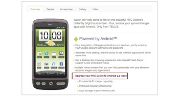 Android 2.2 Froyo update available for the TELUS HTC Desire