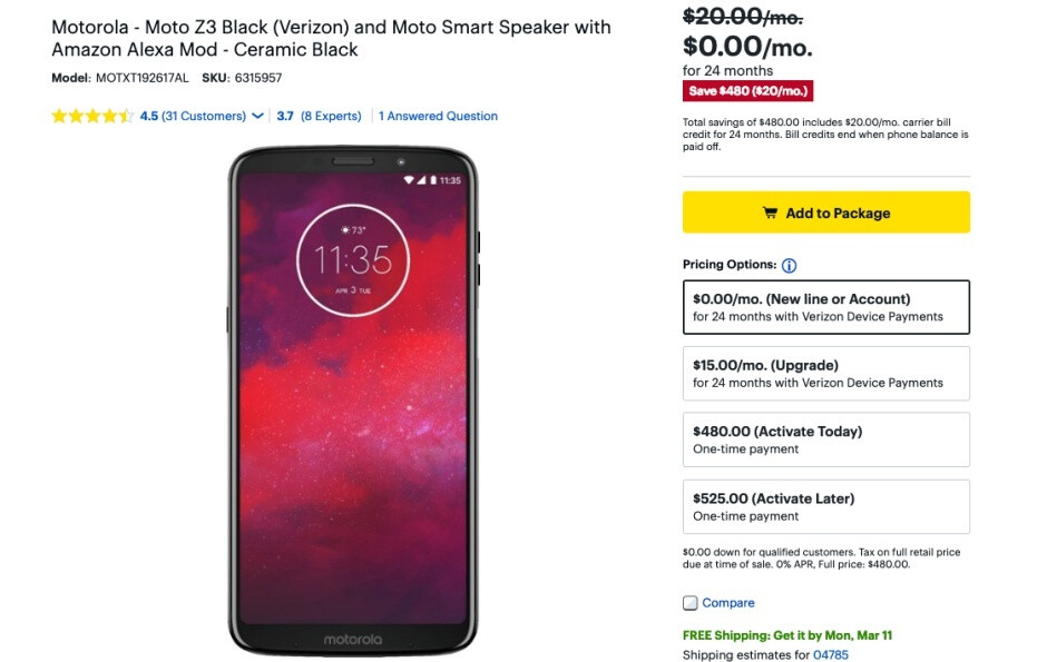 Verizon's 5G-upgradable Moto Z3 can be had free of charge from Best Buy (with strings)