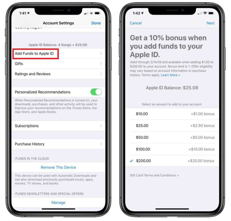 From now through March 14th, Apple will give those adding funds to their Apple ID accounts a 10% bonus up to $20 - For a very limited time, Apple will pay you to fund your Apple ID account
