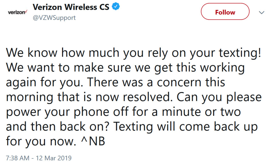 """Verizon resolves issue with texting that affected tons of customers on the east coast - Nation's largest carrier resolves issue affecting """"a ton"""" of subscribers"""