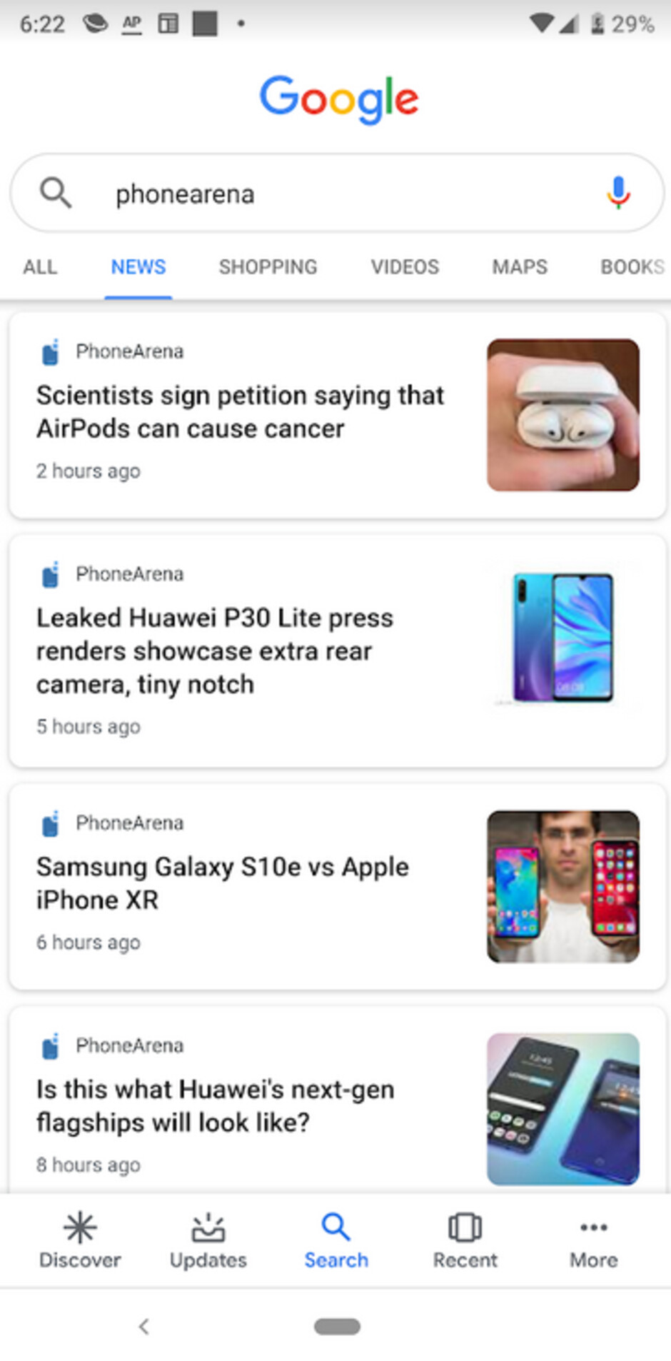 Do the headlines on the Google Search app for Android look different to you?
