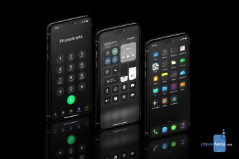 iPhone XI running iOS 13 Dark Mode concept