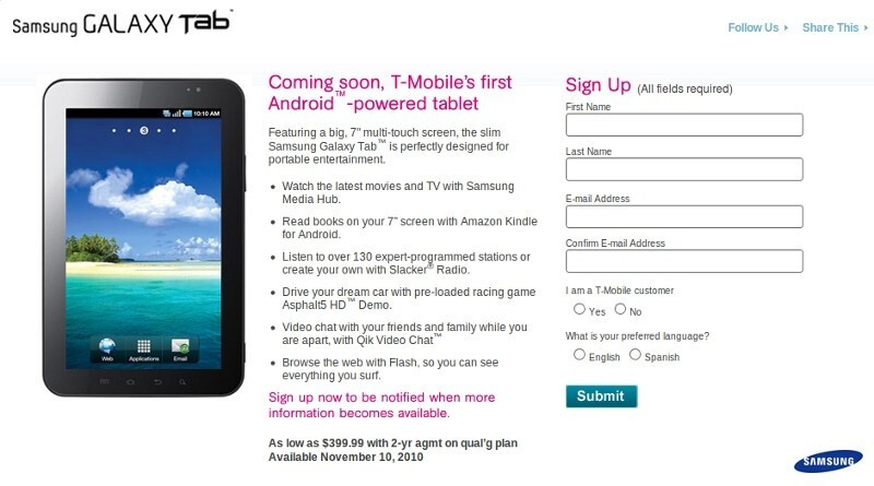Samsung Galaxy Tab on T-Mobile to cost $400 with contract, available November 10th