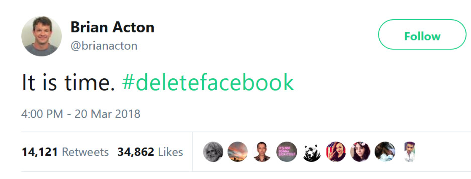What'sApp co-founder Brian Acton reacts to the Cambridge Analytica scandal last year by telling people to delete Facebook - WhatsApp co-founder bites the hand that fed him billions of dollars